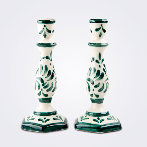 Handpainted ceramic candle holder set product picture.