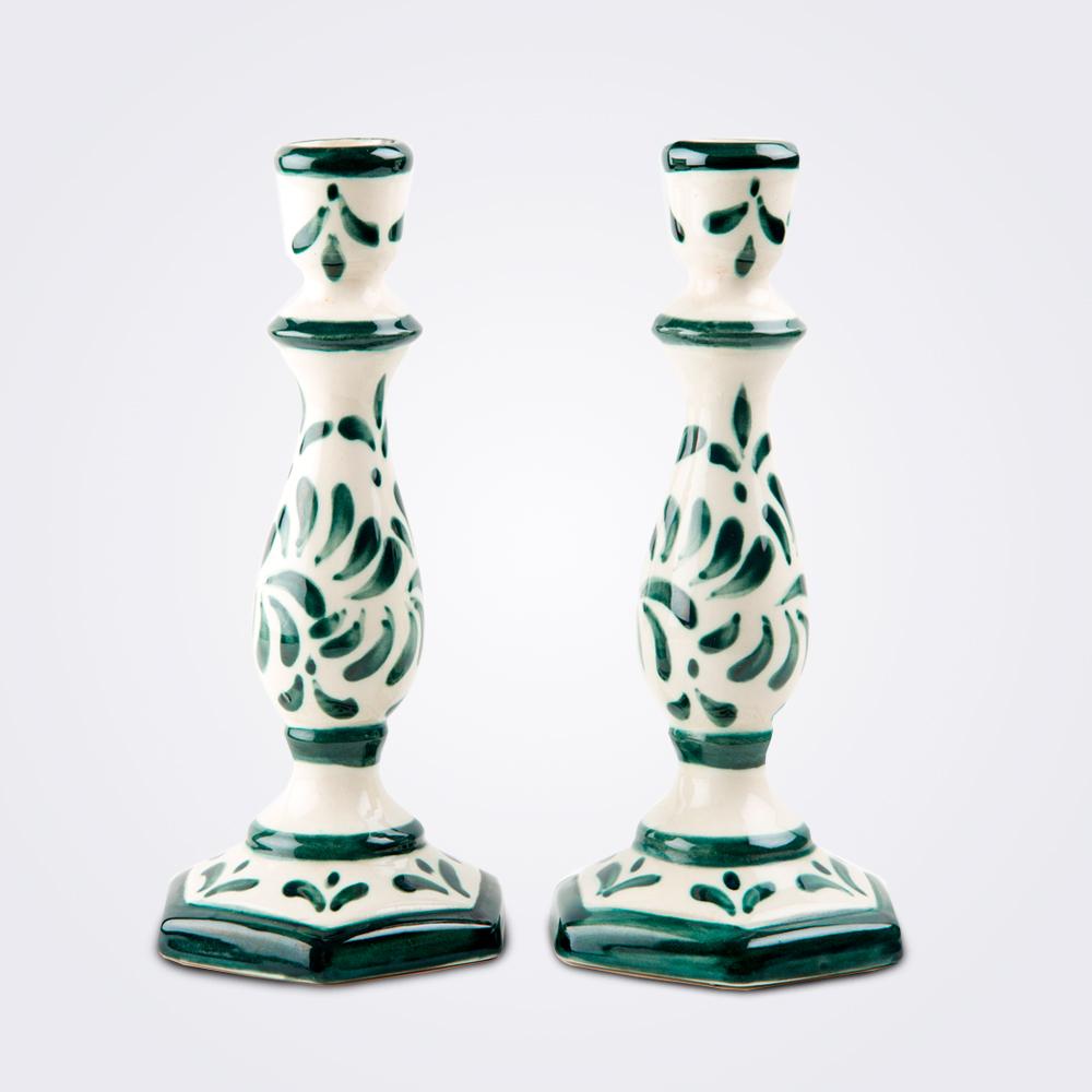 Handpainted-ceramic-candle-holder-set