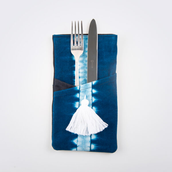 Indigo tie dye cutlery holder set product photo with cutlery.