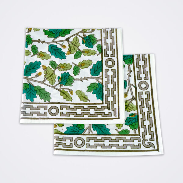 Oak leaf motif napkin product picture.