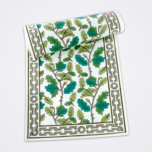 Oak leaf motif table runner product picture.