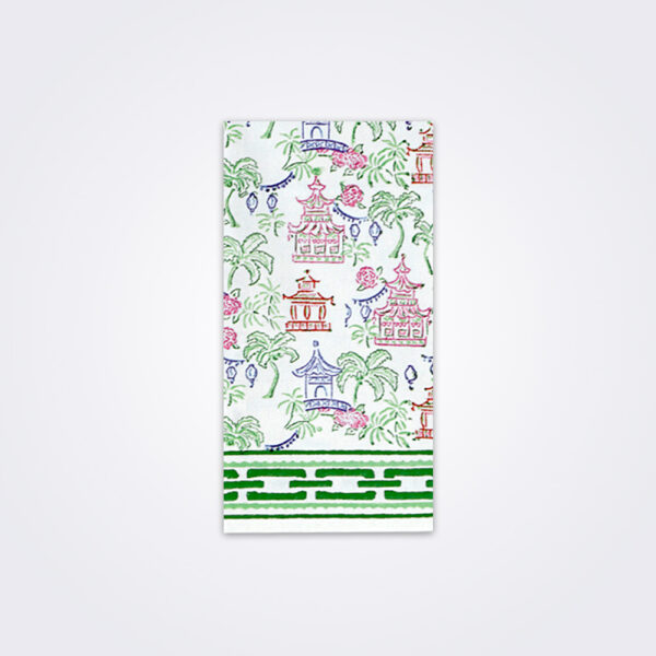 Palms and pagodas tea towel product picture.