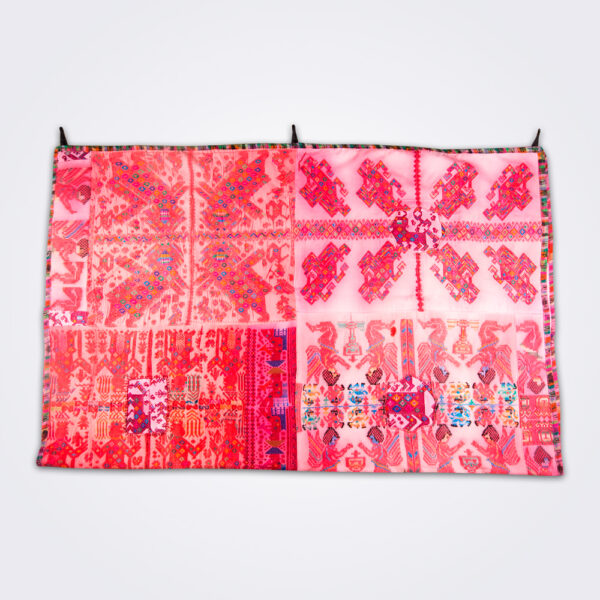 Pink guatemalan coverlet product picture.
