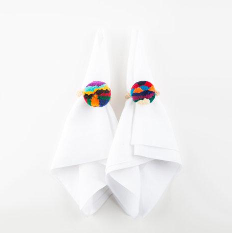 Pompom Multicolor Napkin Ring Set