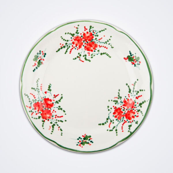 Red ivy dinner plate product picture.