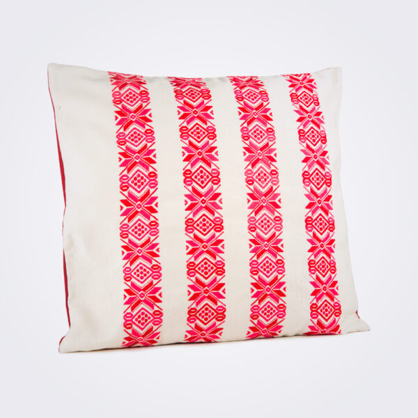 Red stars square pillow cover product picture.