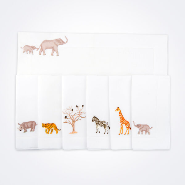 Safari linen napkin and placemat set product picture.