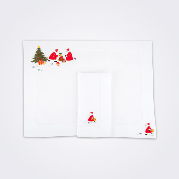 Santa claus napkin and placemat set picture.