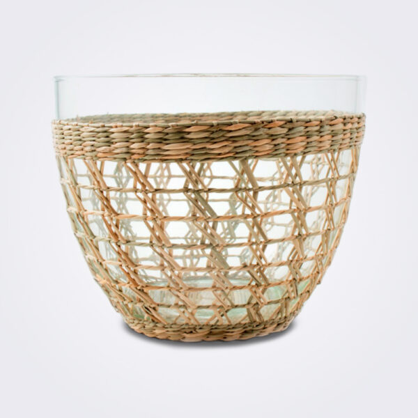Seagrass cage salad bowl large on gray background.