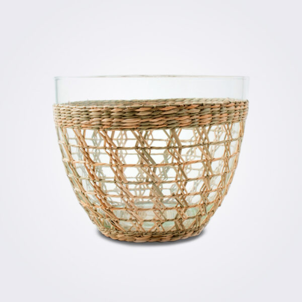 Seagrass cage salad bowl medium on gray background.