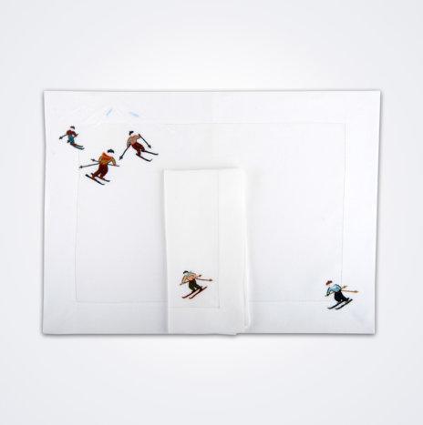Skier Napkin & Placemat Set III