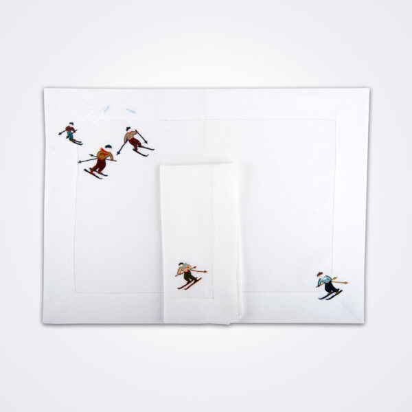 Skier napkin and placemat set product picture.