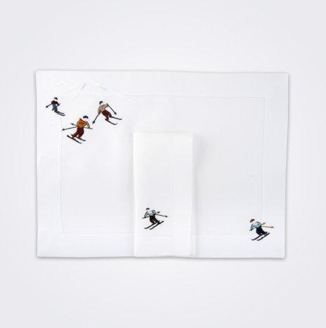 Skier Napkin & Placemat Set I