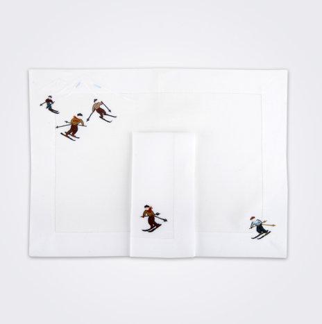 Skier Napkin & Placemat Set II