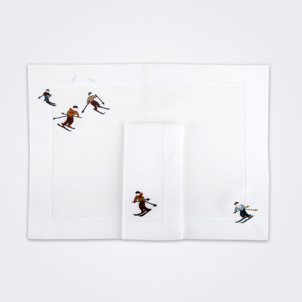 Skier napkin and placemat set picture.