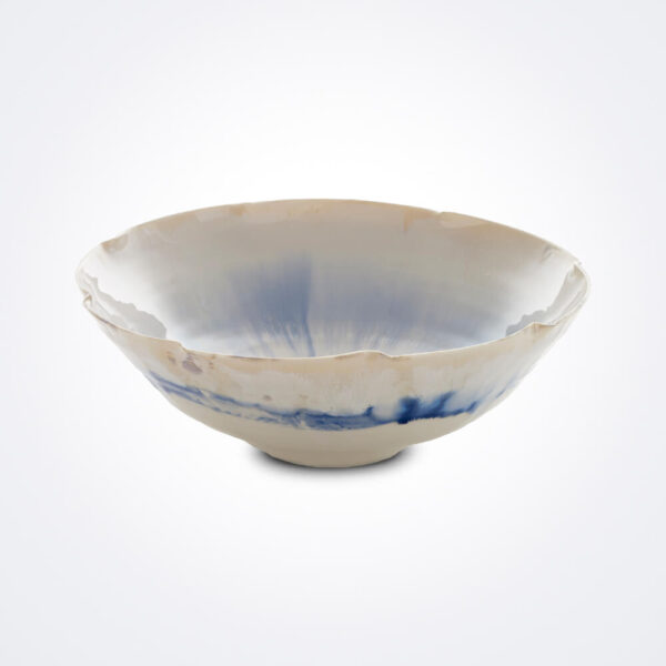 White and blue porcelain bowl product image.