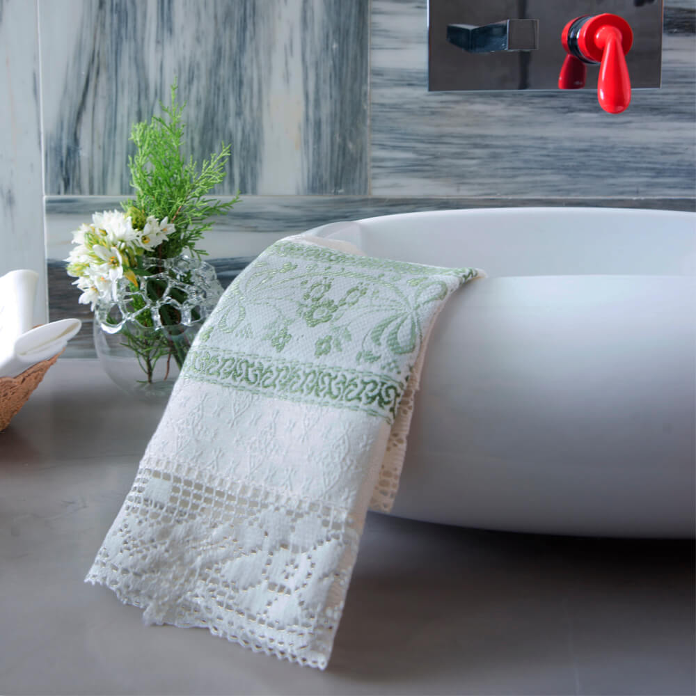 White-and-green-flower-hand-towel-2
