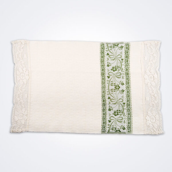 White and green flower hand towel picture.
