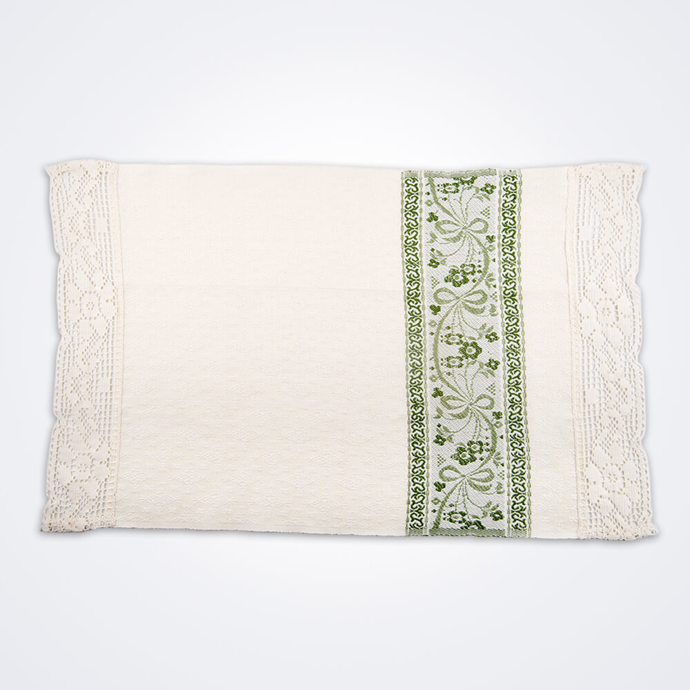 White-and-green-flower-hand-towel