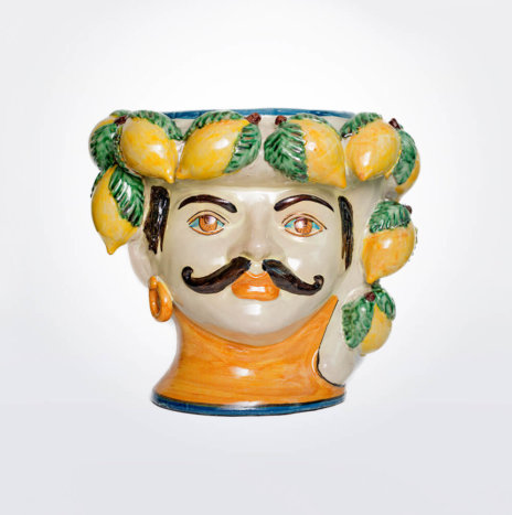 Lemon Moustache Man Head Vase