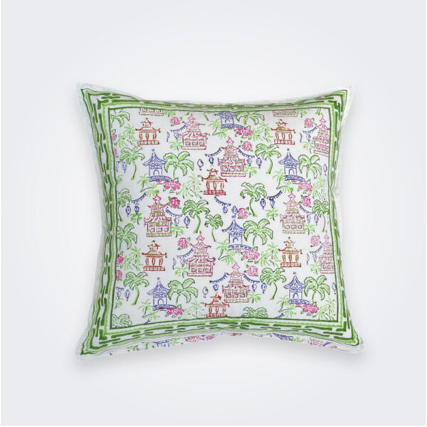 Palms and pagodas pillow product picture.