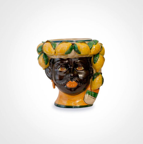 Lemon Black Man Head Vase
