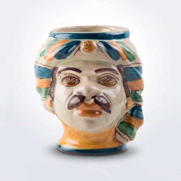 Ceramic man head pencil holder product picture.