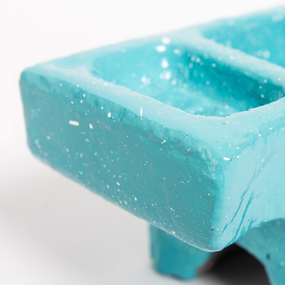 Blue cement condiment holder 2