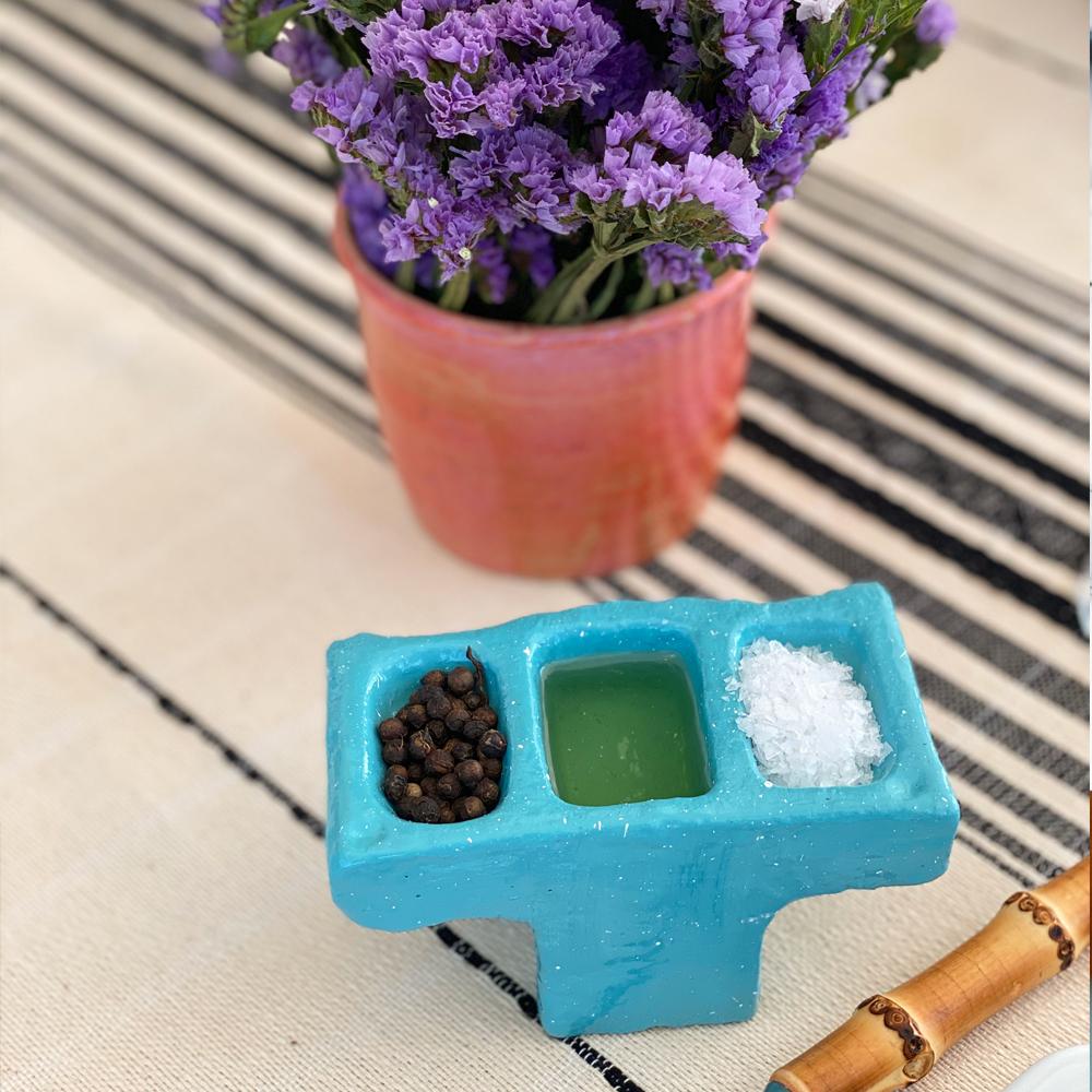 Blue cement condiment holder 3