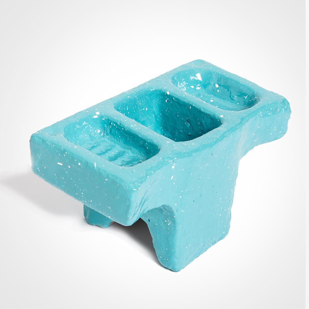 Blue-cement-condiment-holder