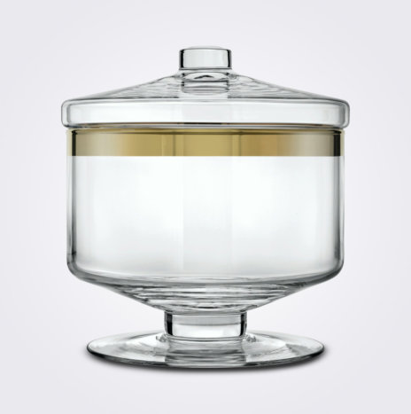 Clear & Gold Glass Container (Short)