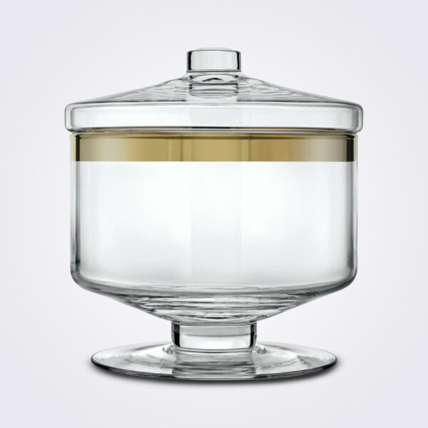 Clear gold glass container short white background.