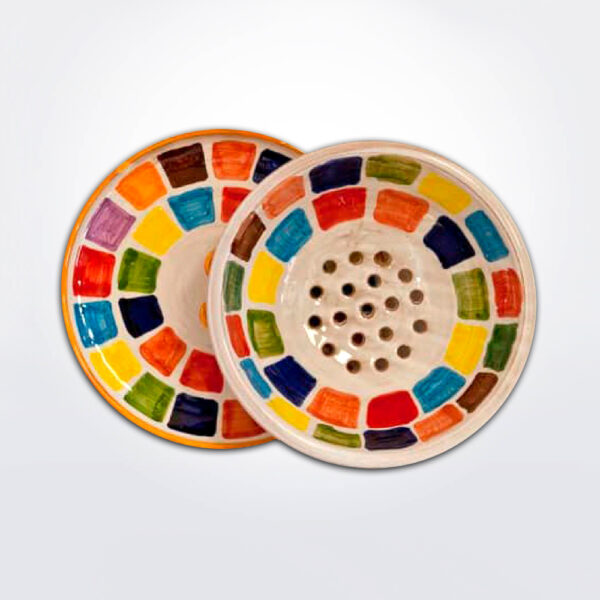 Colander with tray with white background.