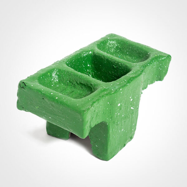 Green cement condiment holder product picture.