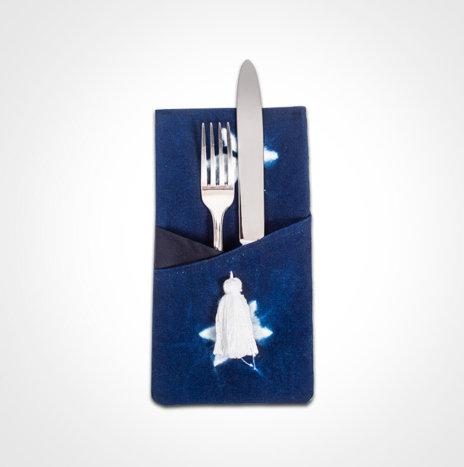 Indigo Tie Dye Cutlery Holder Set II