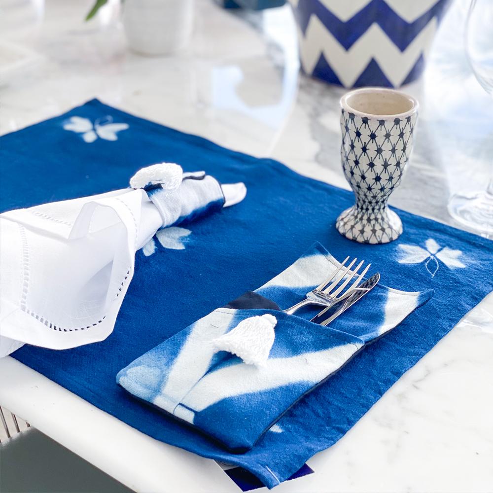 Indigo tie dye cutlery holder set iii 4