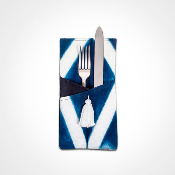 Indigo tie dye cutlery holder set product picture.