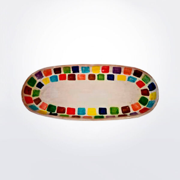 Oval ceramic tray with white background.