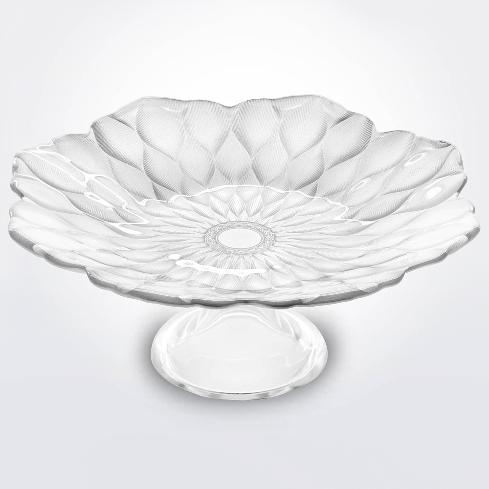Pearly white footed plate with white background.