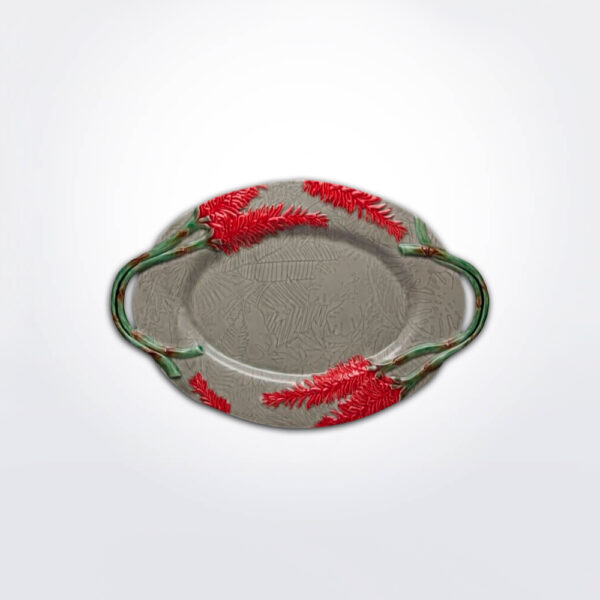 Tropical oval platter with white background.