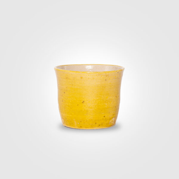 Yellow ceramic pot product picture.