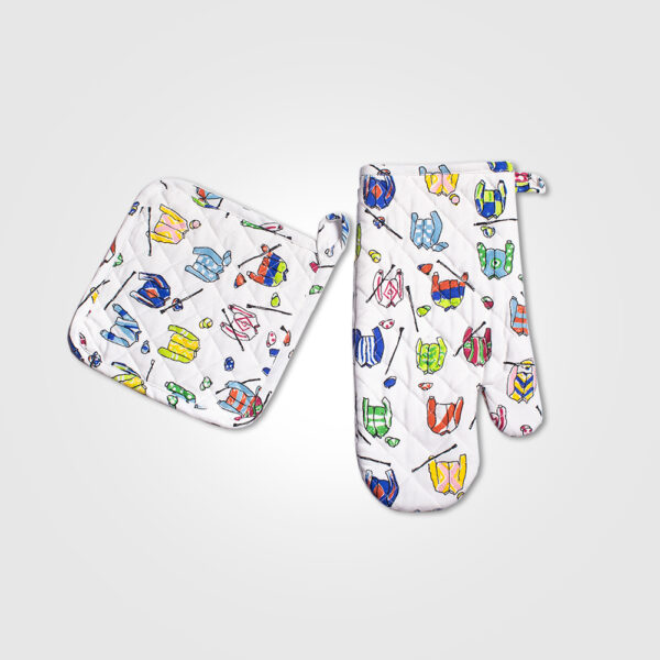 Jockey silk oven mitt and pot holder set product picture.