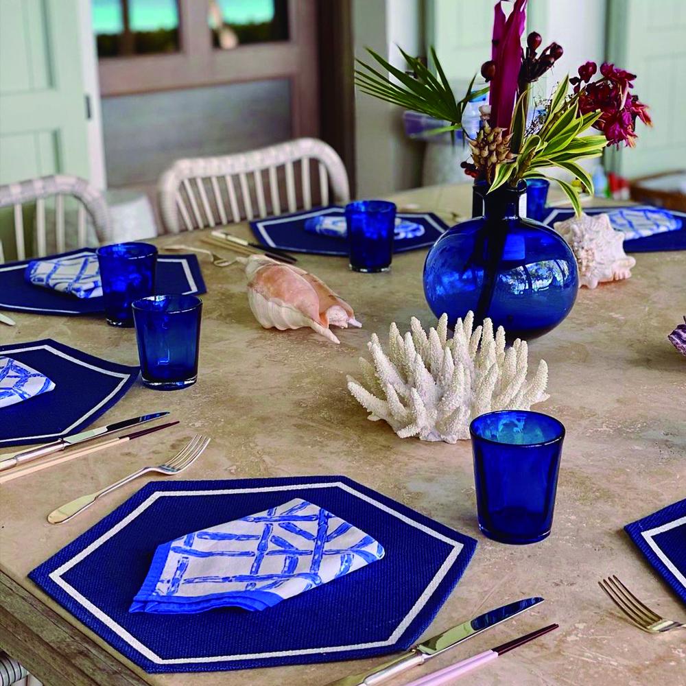 Blue bamboo napkins set