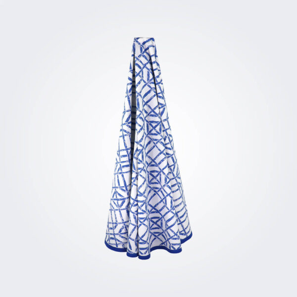 Blue bamboo tablecloth product picture.