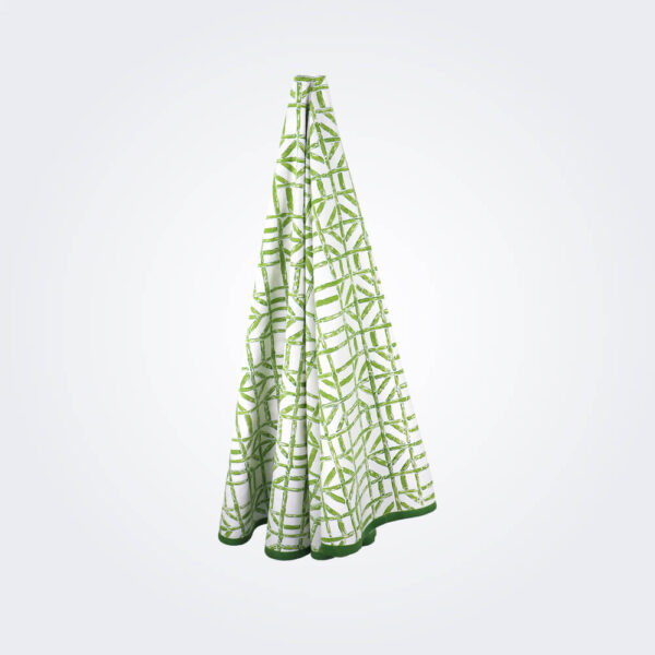 Green bamboo tablecloth product picture.