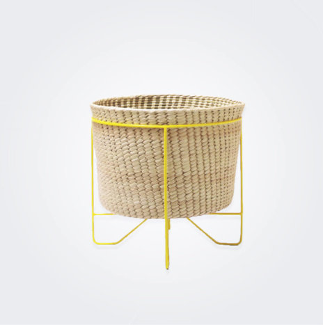 Palm Leaf Basket with Yellow Stand (Small)
