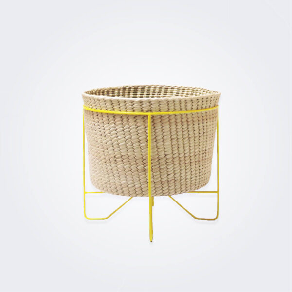 Palm leaf basket with yellow stand small product picture.