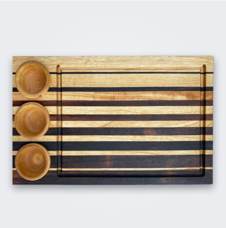 Wood Cutting Board with Containers