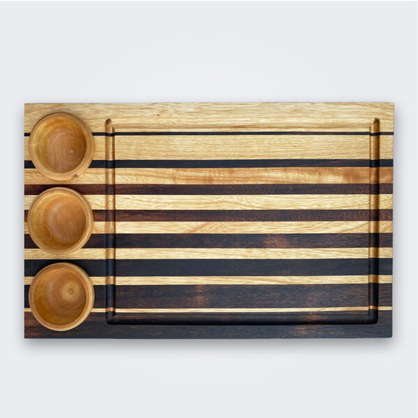 Wood cutting board with containers product picture.