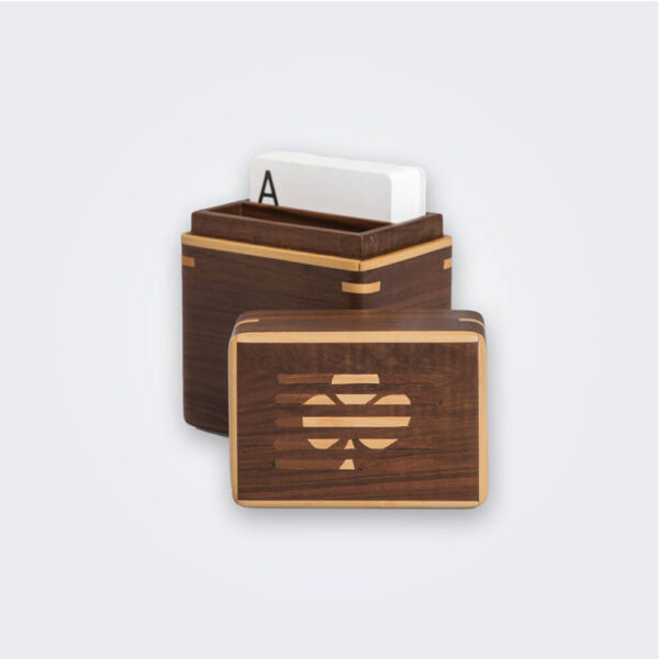 Dark wood playing card holder product picture.